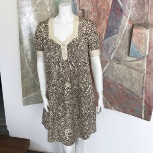 Mayle Silk Cream Brown Shift Floral Dress SZ 2
